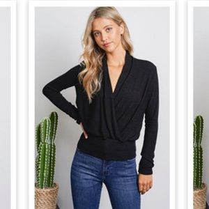 Black Soft Knit Wrap Front Long Sleeve